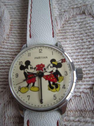 Retro Mädchen Uhr,  Mickey Und Minnie Mouse Motiv,  Mechanisch Bild
