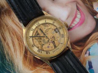 Vintage Zentra - Skellettuhr - Glasboden Uhr Im Gold - Handaufzug Bild
