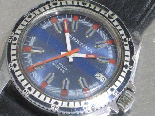 PrÄtina Herren - Armbanduhr Mech.  17 Jewels Taucheruhr Datum Kal.  Fe 140 - 1c Bild