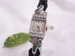 Art Deco Damenarmbanduhr: Usa Um 1930: Platin,  Brillanten,  Smaragde Bild