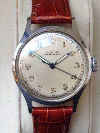 Glycine Bienne - Geneve - Millitary Stahl Herren Uhr - Handaufzug Bild