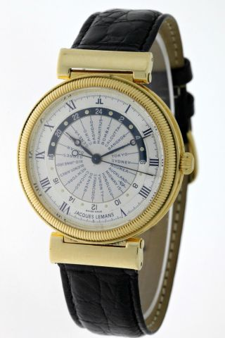 Jacques Lemans World Timer 18kt.  Gold Ref.  1030 Automatik Limited Edition 300stk Bild