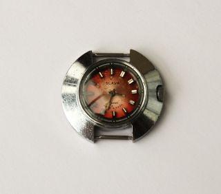 Damenuhr Slava 17 Jewels Handaufzug Made In Ussr Russische Damen Uhr Läuft. Bild