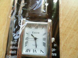 Eiger Armbanduhr Unisex Lederarmband Braun Edelstahlgehäuse Bild