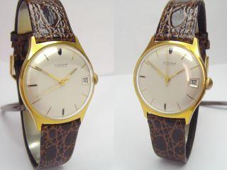 Junghans 1965er Vintage Dress Watch Herrenuhr Mit Datum & Neuem Kroko Lederband Bild