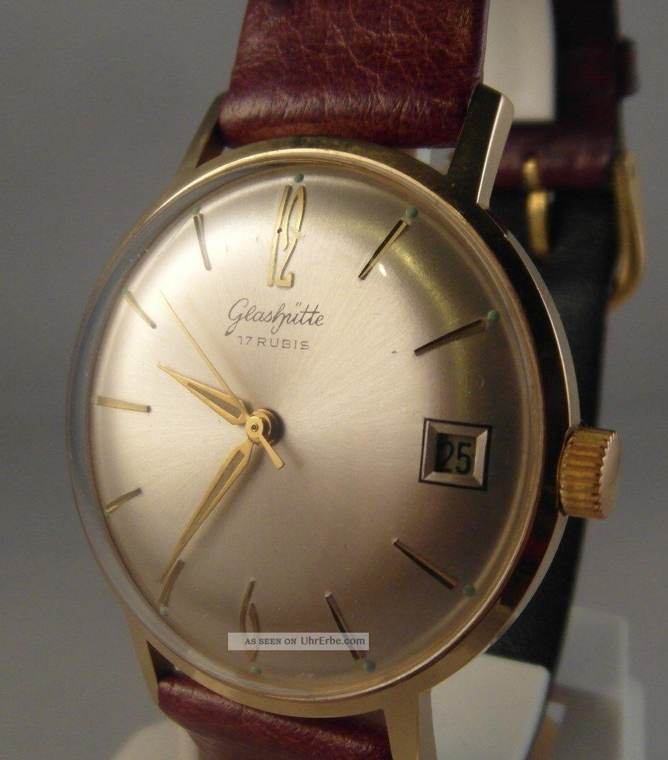 Wunderschne Gub Glashtte Uhr Vintage Datum 17 Rubis Kal