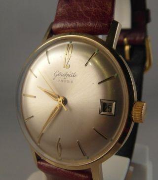 Wunderschöne Gub Glashütte Uhr Vintage Datum 17 Rubis Kal.  69.  1 Ddr Um 1960 - 70 Bild