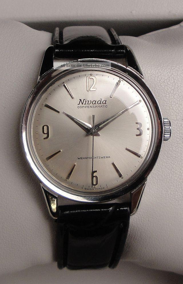 Vintage Armbanduhr Nivada Compensamatic – Cal.  As 1604 – Leicht Ablesbares Zb Armbanduhren Bild