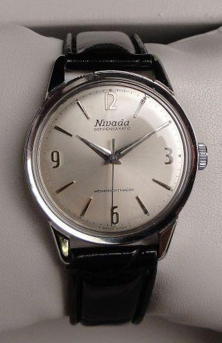 Vintage Armbanduhr Nivada Compensamatic – Cal.  As 1604 – Leicht Ablesbares Zb Bild