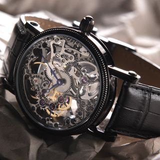Yves Camani Jules Herrenuhr Handaufzug Skelett Edelstahl Schwarz B - Ware Bild