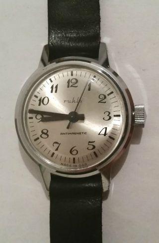 Ruhla Armbanduhr Handaufzug Edelstahl Antimagnetic Geprüft Vwp Bild