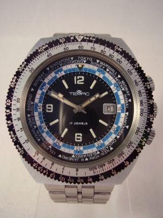 Vintage Tempic Worldtimer Armbanduhr Herrenuhr Fliegeruhr Taucheruhr 70er Jahre Bild