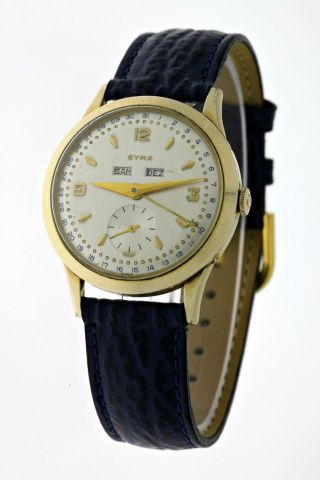 Vintage Cyma Vollkalender Handaufzug Herren Gold FÜnfziger Jahre - Sammleruhr Bild