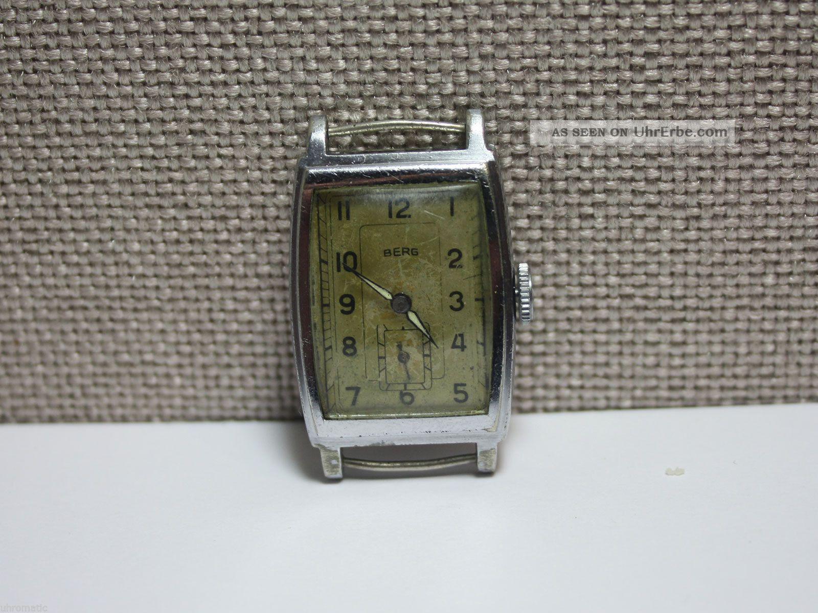Berg - Rechteckige Armbanduhr Mit Urofa 58 Uhrwerk.  Men ' S Wrist Watch Armbanduhren Bild