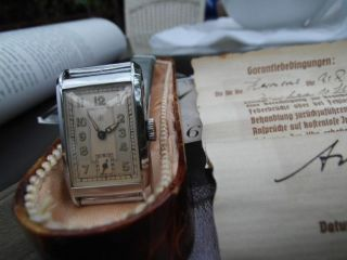 Vintage - Junghans Handaufzug 11 Steine Von 1938 Mit Box Und Papieren Bild