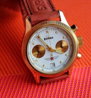 Poljot Buran Chronograph Werk 3133 Mit 23 Jewels Russische Uhr Aviator Chrono Bild
