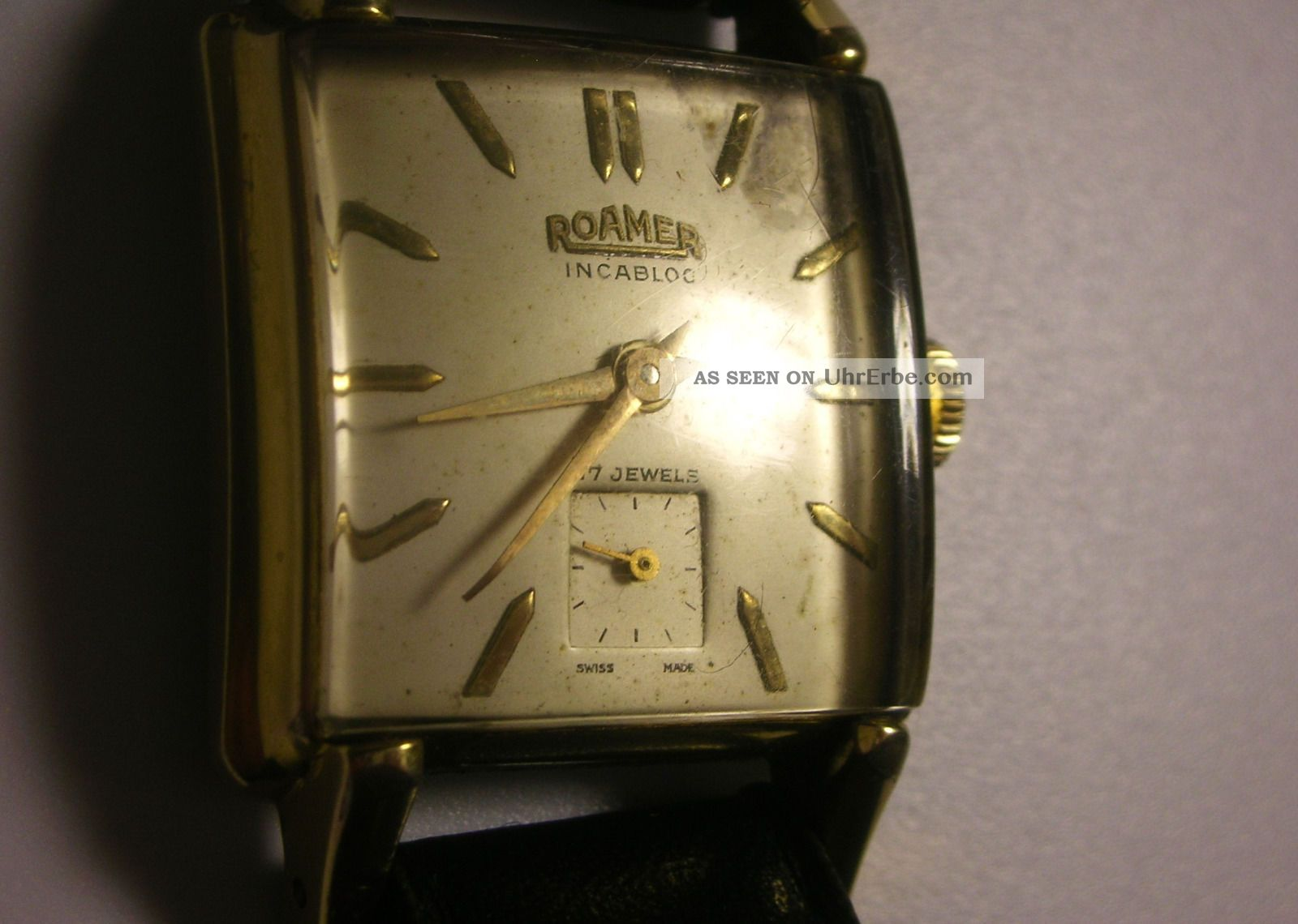 Seltene Vintage Roamer Incabloc Armbanduhr Tank & Glas Gewölbt Rarität Nachlass Armbanduhren Bild