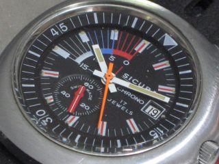 Sicura Chrono Diver Chronograph 70er Jahre Herren - Armbanduhr Kal.  Eb 8800 Bild