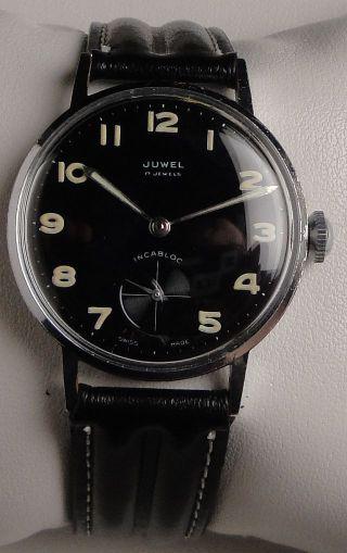 Vintage Armbanduhr Juwel–cal.  As1130–schwarzes Zb M.  Gut Lesbaren Großen Indexen Bild