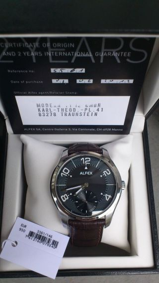 Alfex Badus Swiss Made Handaufzug Unitas 6498 Mechanisch Herrenuhr Np 950€ Bild