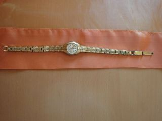 Goldene Damen - Armbanduhr.  Modeschmuck. Bild