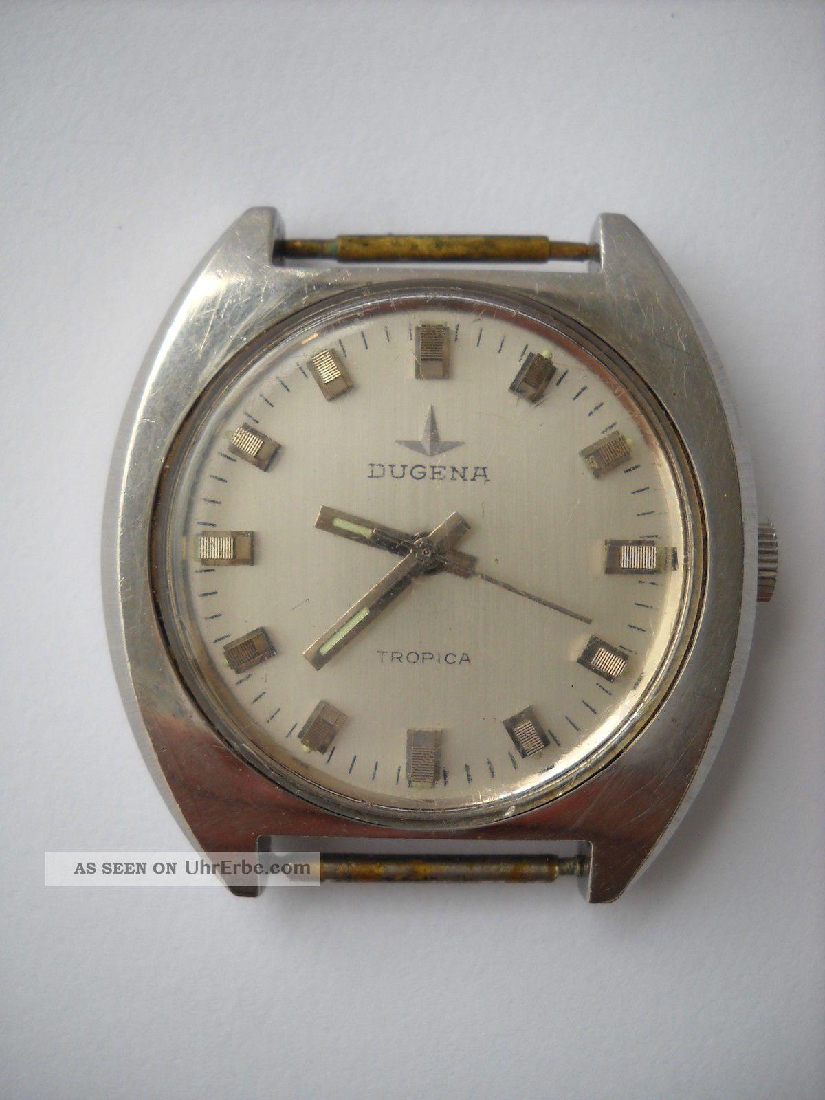 Dugena Tropica,  Armbanduhr,  Handaufzug,  Edelstahl Schraubgehäuse,  Kal.  Eta 2750 Wo Armbanduhren Bild
