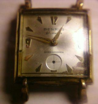 Rare Vintage Swiss Benrus Dm 451 21j.  Gents Square Wrist Watch Bild