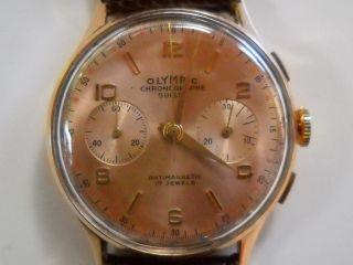 Chronographe Suisse Olympic 18kt 750er Gold 17 Jewels Kal.  901 132 Herrenuhr Bild