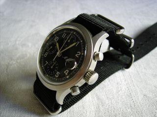 Chronograph Fliegeruhr M&m Valjoux 7765 Handaufzug Military Style 90er Jahre Bild