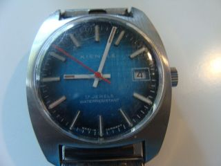 Alte Kienzle Armbanduhr Blaues Zifferblatt 70er Jahre Bild