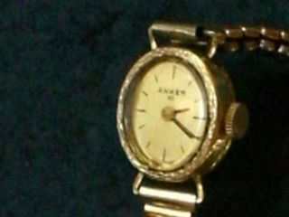 Seltene Anker 585er Gold Handaufzug Dau,  Damenuhr,  Damenarmbanduhr,  Altgold 585 Bild
