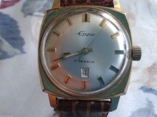 Eppo 17 Jewels Handaufzug Herren Armbanduhr 34 Mm Datum Uhr Läuft Einwandfrei Bild