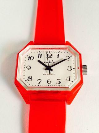 Ruhla Herrenuhr Plexiglas Mechanisch Handaufzug Armbanduhr Uhr Sammler Ddr Bild