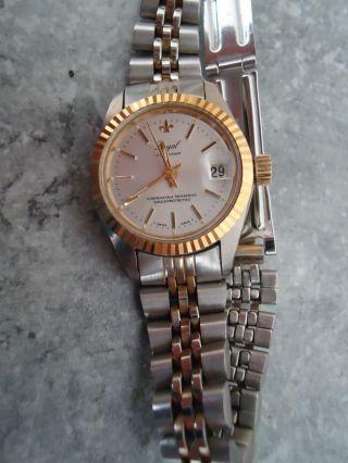 Royal Calendar Swiss Made Armbanduhr Damen Edelstahl Teilvergoldet Handaufzug Bild