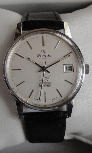 Armbanduhr Nivada Handaufzug In Edelstahl Mit Datum Bild
