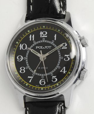 Poljot Signal Klassische Soviet Wecker Armbanduhr Made In Ussr Alarm Dress Watch Bild