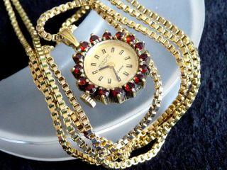 Anker Anhänger Uhr Mechanisch Handaufzug Vergoldet Mit Granat Und Kette / Rar Bild