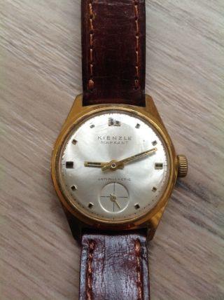 Alte Vintage Kienzle Markant Antimagnetic Armbanduhr Lederarmband Handaufzug Bild