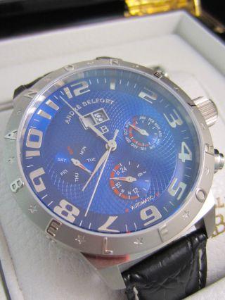 André Belfort Aviateur Stahl Herren Armband Uhr Blaues Ziffernblatt Automatik Bild