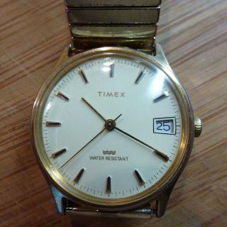 Timex Herrenuhr Mechanisch Handaufzug Armbanduhr Uhr Sammler Mit Datum Bild