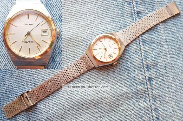 Dugena Classic Armbanduhr Herren Herrenuhr Uhr France Ebauches Fe 140 - 1 C Datum Armbanduhren Bild