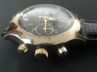 Poljot Chronograph Su 3133,  23 Steine,  Tachymeter,  Schwarz/gold,  Udssr 90er,  Ovp Bild