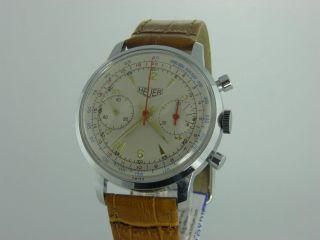 Heuer Vintage Chronograph Landeron 48 Handaufzug Herrenuhr 34 Mm Bild