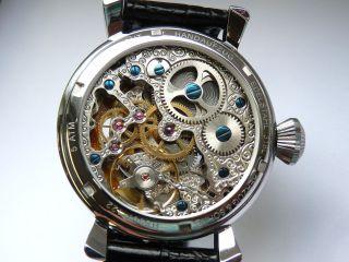 Armbanduhr Mit Parnis.  Asiatische Unitas Skelett Werk Zweite Zeitzone Bild