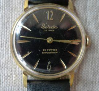 Selecta De Luxe Herrenarmbanduhr 21 Jewels Schwarzes Zifferblatt Bild