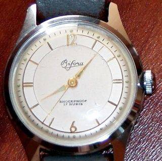 Herrenarmbanduhr Bifora 50er - Jahre,  Funktionsfähig,  Analog,  Handaufzug,  Vintage Bild
