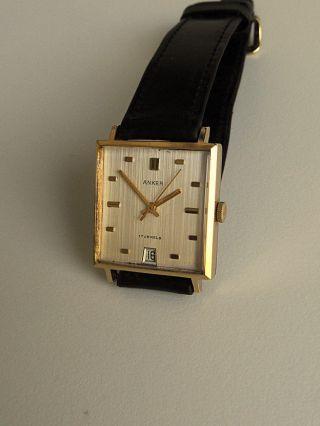 Sehr Schöne Anker 17 Jewels Mit Datum Karree Gehäuse Herrenuhr Aus Sammlung Bild