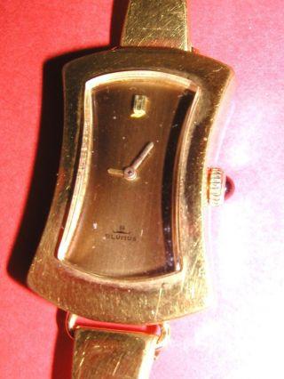 Damenuhr Blumus Handaufzug Goldplated Läuft Armbanduhr Rw Krone Blauer Saphir Bild