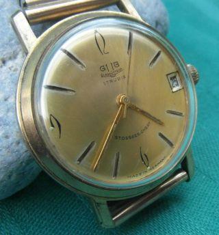 Klassische Uhr Gub Glashütte Sachsen 17 Rubis Datum Vintage Um 1955 - 60, Bild