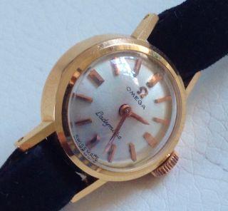 Omega Ladymatic Automatik Uhr 18k 750 Gelbgold Damenuhr - Echte Gold Uhr - Bild